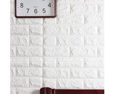 10 pezzi 3D Carta da Parati Mattoni Autoadesiva Wallpaper Brick Adesivi Murali Muro, Rimovibile Fai da te Art Disegno Tridimensionale Wall Stickers Bianco, Decorazione da Muro per Cucina, Bagno, Soggiorno, Salone, Ufficio, TV Sfondo (10 pcs, Bianco)