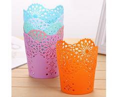 Monbedos 1 pz Hollow Lace Pen Holder portapenne contenitore creativo scrivania contenitore di plastica durevole cestino casa ufficio (bianco)
