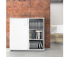 WeberBÜRO Uni Armadio per archiviazione 1,2M chiudibile a Chiave 3OH Bianco Armadio per Ufficio Armadio con Ante scorrevoli