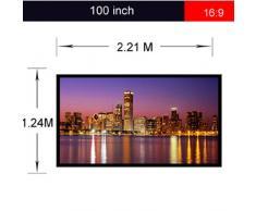Excelvan Portatile e Pieghevole 100 Pollici 16: 9 Tessuto Proiettore Bianco Opaco Schermo di Proiezione Materiale