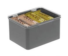 mDesign Scatola plastica per Cucina, la dispensa o L'Ufficio - Scatola con Coperchio in plastica Senza BPA - Organizer portaoggetti per Articoli casalinghi - Grigio Scuro e Trasparente