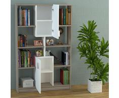 ACASIA Libreria - Scaffale per libri - Scaffale per ufficio / soggiorno dal design moderno (Avola - Bianco)