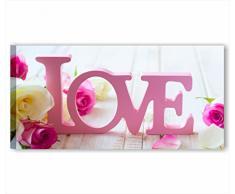 Vintage love 3 - Quadro moderno 90x45 cm amore lettere shabby chic stampa tela quadri moderni fiori rose rustico provenzale style romantic country arredamento casa salotto ufficio home decor