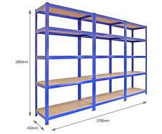 3 x T-Rax Scaffalature e ripiani di immagazzinaggio, giardino, garage, 90cm, 5 Scaffali, Azzurro