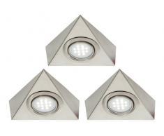 Set di luci LED triangolari per scaffalature o mobiletti da cucina con adattatore per presa di corrente e cavi di interconnessione, colore: Bianco freddo.