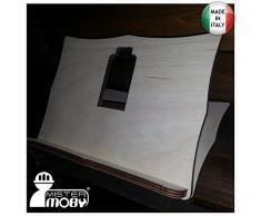 Mistermoby Leggio in Legno Massello per Libri Spartiti Supporto da Tavolo Dimensioni 20x24 Centimetri anche per Decoupage 1 Pezzo