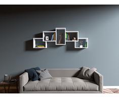 BERRIL Mensola da muro - Bianco - Mensola Parete - Mensola Libreria - Scaffale pensile per studio / soggiorno in Design moderno
