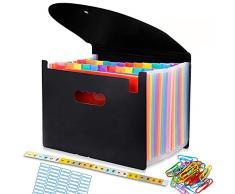 Cartella Portadocumenti per Ufficio A4 Porta Documenti Espandibile 24 tasche Impermeabile Multicolore Struttura a Fisarmonica per Casa Scuola e Viaggio di Lavoro
