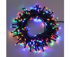 Catena 7,5 m, 180 led multicolor, con giochi di luce, cavo verde, EX Best Value, luci di Natale, luci per lalbero di Natale, luci colorate