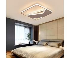 Lampadari moderni a LED per soggiorno Camera da letto Sala da pranzo Illuminazione a lampadario nero finito bianco Illuminazione domestica, L50xW50xH5cm, Dimmerabile con telecomando, Cornice nera