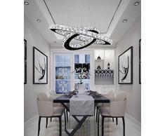 Lampadario moderno di lusso LED di LOCO con due anelli unici, lampada da soffitto moderna per casa, Lampadari a sospensione a sospensione Illuminazione (diametro dell'anello: 20 * 12 pollici) Dimmerabile Con telecomando