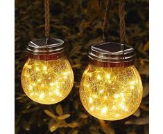 JSOT Lanterne da Esterno, 30 LED Lampade Solari a Luci Solari Esterno Luci Giardino Vintage Lampada Vetro Esterno Impermeabili Decorato in Terrazza Con Giardino (Luce Bianca Calda, Confezione da 2)