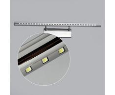 Maxmer LED 9W Luce Dello Specchio Luci di Trucco Applique da Bagno Specchio Armadio Lampada da Bagno Acciaio Inossidabile SMD 5050 Con Interruttore Bianco Freddo
