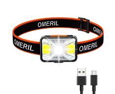 OMERIL Lampada Frontale LED, USB Ricaricabile Lampada da Testa con 5 modalità di Illuminazione, IPX5 Impermeabile Torcia Frontale, Bambini e Adulti Luce Frontale per Campeggio, Corsa, Pesca, Ciclismo