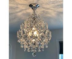 A1A9 moderno lampadario di cristallo, 3 lampadari in cristallo chiaro goccia di pioggia, plafoniera, luci a sospensione pendenti cromate per sala da pranzo camera da letto ingresso soggiorno