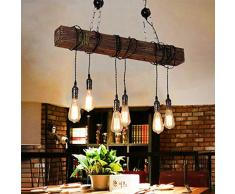 Retro Lampade Sospensione Stile Industriale Depoca Appesa Legno Metallo Lampadario E27 * 6 Altezza Regolabile Cucina Pranzo Salone Loft Rustico Soffitto Luce Goccia