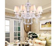 Lusso ciondolo di cristallo salotto lampade classica sala da pranzo camera da letto lampadario principessa ragazza cameretta lampadario Europeo 8 lights