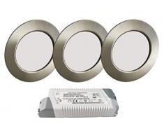 Trango Set di 3 Faretto da incasso a LED 12V AC/DC incl. 1x trasformatore LED (12 Volt - 2000mAh) lampada da incasso a soffitto, plafoniera TGG4E-032T in acciaio inossidabile per sostituire alogena G4