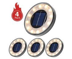 Luci Solari Giardino Tomshine 12LED Luci Solari da Esterno Faretti Solari a LED da Esterno IP68 Impermeabile(Bianco caldo)【4PC】