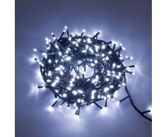 Catena 12,5 m, 300 led bianchi, con giochi di luce, cavo verde, EX Best Value, luci di Natale, luci per l'albero di Natale, luci natalizie