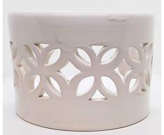 Plafoniera da Parete Traforata Ceramica Bianco Realizzato e Dipinto a mano Nina Palomba Made in Italy Dimensioni 23 x 15 x 12 cm