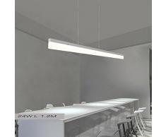 Lampadario a sospensione a LED ufficio soffitto luci lampada da tavolo in alluminio e acrilico 20 W moderno ufficio lampadario per ufficio sala riunioni d argento di colore 100 cm