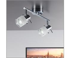 LED FARETTO soffitto/Lampada da soffitto/Spot/GU10/3 Watt/250 lumen/orientabile/con anello cromato/nichel opaco, Metallo, chrom 10.00 W