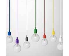 Lampada a sospensione minimal dal design e colori moderni in silicone colorato e tessuto (NERO)