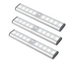 Led Armadio Sensore Movimento Luce, Wireless Luci Notturne Barra Lampada Guardaroba, Usb Batteria Ricaricabile Luce Emergenza, Striscia Magnetica Adesiva Luce per Armadio Scale Corridoio Cucina 3PCS