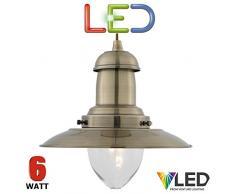 Lampadario a sospensione STS a LED 4301AB, misura grande, 15 W, lampadina inclusa, finitura in ottone anticato, motivo nautico da pescatore, a risparmio energetico, di alta qualità