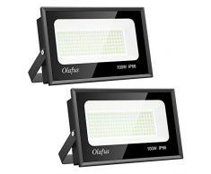 Olafus 2 Pezzi 100W Faro LED Esterno 11000LM 5000K IP66 Impermeabile Bianco Freddo Faretto LED da Esterno 168 LEDs Alta Luminosa per Giardino Cortile Garage Campo Fari di Sicurezza a Bassi Consumi