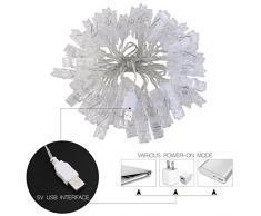 LEDMOMO LED Foto Clip Stringa Illuminazione,40 Foto Clips 5M USB Alimentazione Luci LED Natale Per Appendere Fotos,Appunti,Arti