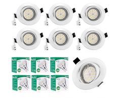 Faretto da incasso orientabile a LED bianco caldo 2800K, 6W 580LM (equivalente alogeno 50W), faretti da incasso, AC 230V, non dimmerabile, kit 6, Viaus