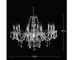Fioriera a soffitto moderna in cristallo da 10 lampade a sospensione, lampada a sospensione in cristallo per sala da pranzo, camera da letto, soggiorno, dimensioni: Diametro 80cm Altezza 60cm Catena 60cm