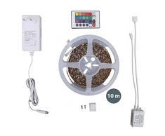 Striscia LED di 10 metri, Nastro luminoso con cambiamento di colore regolabile da telecomando, striscia luminosa autoadesiva e accorciabile, con alimentatore, IP20