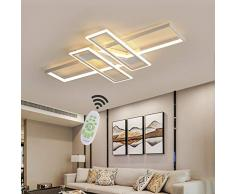 80W LED Lampada da soffitto Moderna Stile Telecomando Dimmer Lampada soggiorno Camera da letto Lampade Plafoniera Metallo Acrilico Design Paralume 3000-6000K Bianco Cucina Bagno Decor LED Plafoniera