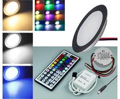 3 x Set di 3 faretto a LED da incasso in alluminio opaco, 12 V/5 W IP67, include trasformatore e controller RGB, Indeformabile, Set di faretti LED da incasso bianco/bianco caldo/blu/rgb da incasso per installazione a pavimento