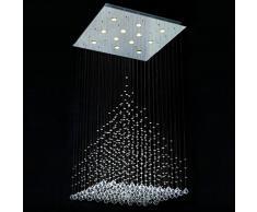 WENSENY Moda Lampadario a cristallo con 12 luci Lampade Goccia della pioggia di cristallo Lampadario GU10 lampadine D80cm H120cm