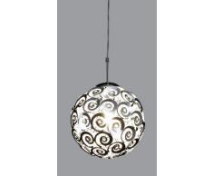 Trio Leuchten Trio 308300106 Lampadario con Intreccio in Alluminio e Pietre Decorative in Acrilico, 30 cm, Argento E27, Ø