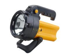 Electraline 58054 Torcia Ricaricabile, Portatile, 2 Comode Impugnature Ergonomiche, Lampadina a LED 3 W, 150 lumens, Giallo/Nero