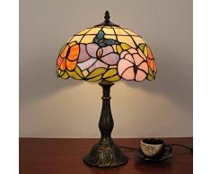 12 pollici farfalla Vintage pastorali splendidi fiori di vetro macchiato di stile di Tiffany lampada da tavolo da letto lampada da comodino Lampada