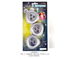 Blister con 3 faretti adesivi con 3 led: lampadina murale per armadio ripostiglio guardaroba; funzionamento a batteria