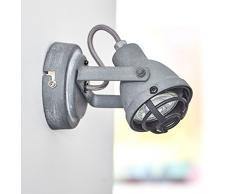 Lightbox - Spot da parete a LED, stile vintage, in look industriale usato, 1x 4W, GU10, LED incluso, 350 lumen, 3000K, luce bianco caldo, metallo, cemento grigio