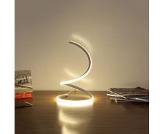 Modeen 40W Lampada da tavolo a LED a spirale moderna lampada da tavolo a LED, lampada da comodino camera da letto studio di lavoro luce dellocchio salvaspazio per soggiorno camera da letto, argento