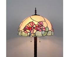 Gweat Tiffany Lampada da Comodino Classica da Soggiorno in Stile Anni 70 con Motivo Floreale