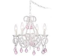 Saint Mossi Elegante Lampadario in cristallo 4 luci/braccia base lampada E14 verniciato bianco con gocce di cristallo rosa