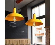 LINGJUN Stile Industriale Lampada Sospesa a Sospensione Luce Moderna Led Vintage Alluminio Lampadario Senza Lampadina Decorazioni Caffetteria Cucina Sala da Pranzo Camera da Letto(36cm Giallo)
