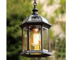 Mengjay Lampade a Sospensione IP23 Impermeabile da Interno/Esterno Vintage Lampadario Lampada Lanterna Illuminazione da Giardino Rurale Antico Europeo Gazebo Decor Lighting