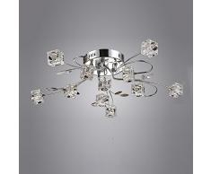 Moderno LED Plafoniera Cristallo Paralume Cromo Metallo Lampada da soffitto per Camera da letto Soggiorno Cucina Sala da pranzo Fiore Design lampadario, D65CM 11 * G4 Lampadina incl, 11 luci
