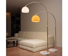 Jago® Lampada ad Arco - CEE: A++, Colore e Diametro a Scelta, Paralume Ruotabile, Base Rotonda in Marmo, E27, max 60 W, o LED - Lampada da Terra, Pavimento (Altezza: 130 - 180 cm, Bianco)